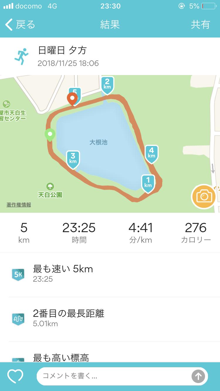 2018/11/25の5kmのタイム