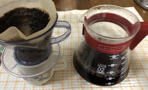 キリマンジャロコーヒーの抽出後