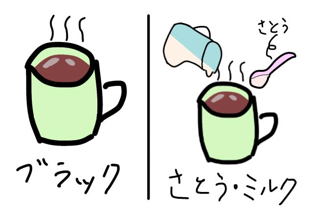 ブラックコーヒーか、砂糖・ミルクか