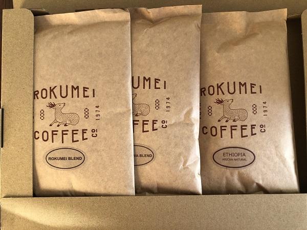 ロクメイコーヒーの3種飲み比べセット