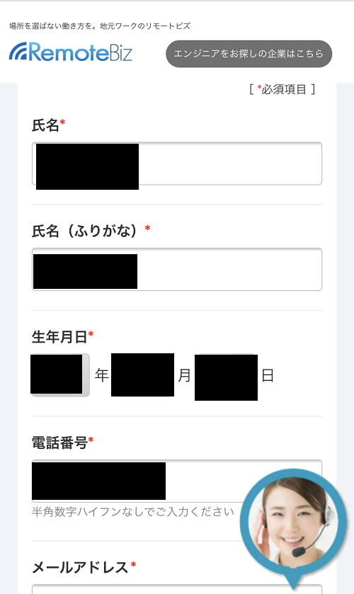 リモートビズ登録情報_その1